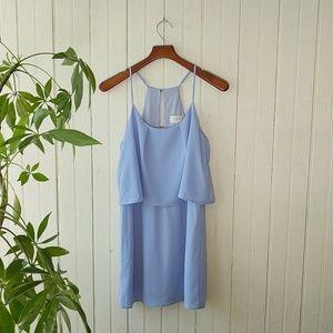 Everly blue chiffon tiered cami mini slip dress S